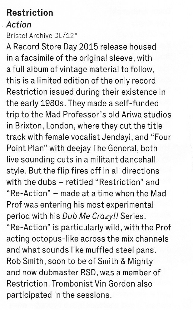 Restriction 12 inch review The Wire April 2015
